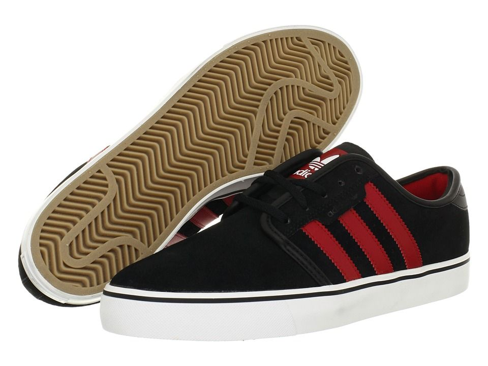lowest price 715e8 37169 adidas Skateboarding Seeley (Black University Red White (Suede)) Men s Skate  Shoes