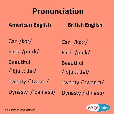 Differences between british and american english pronunciation pdf