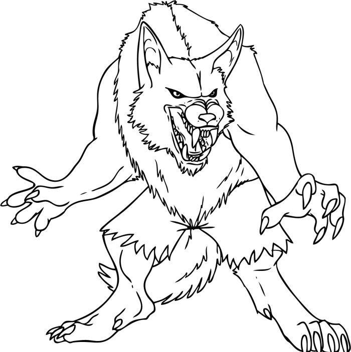 Zombie Demon Wolves Coloring Pages Monster Coloring Pages Werewolf Animal Coloring Pages