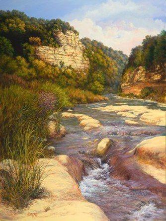 """Spring Gap"" ~ 40"" x 30"" Acrylic Artist:  Lynwood Bennett Gallery:  RS Hanna Gallery - Fredericksburg, Texas"