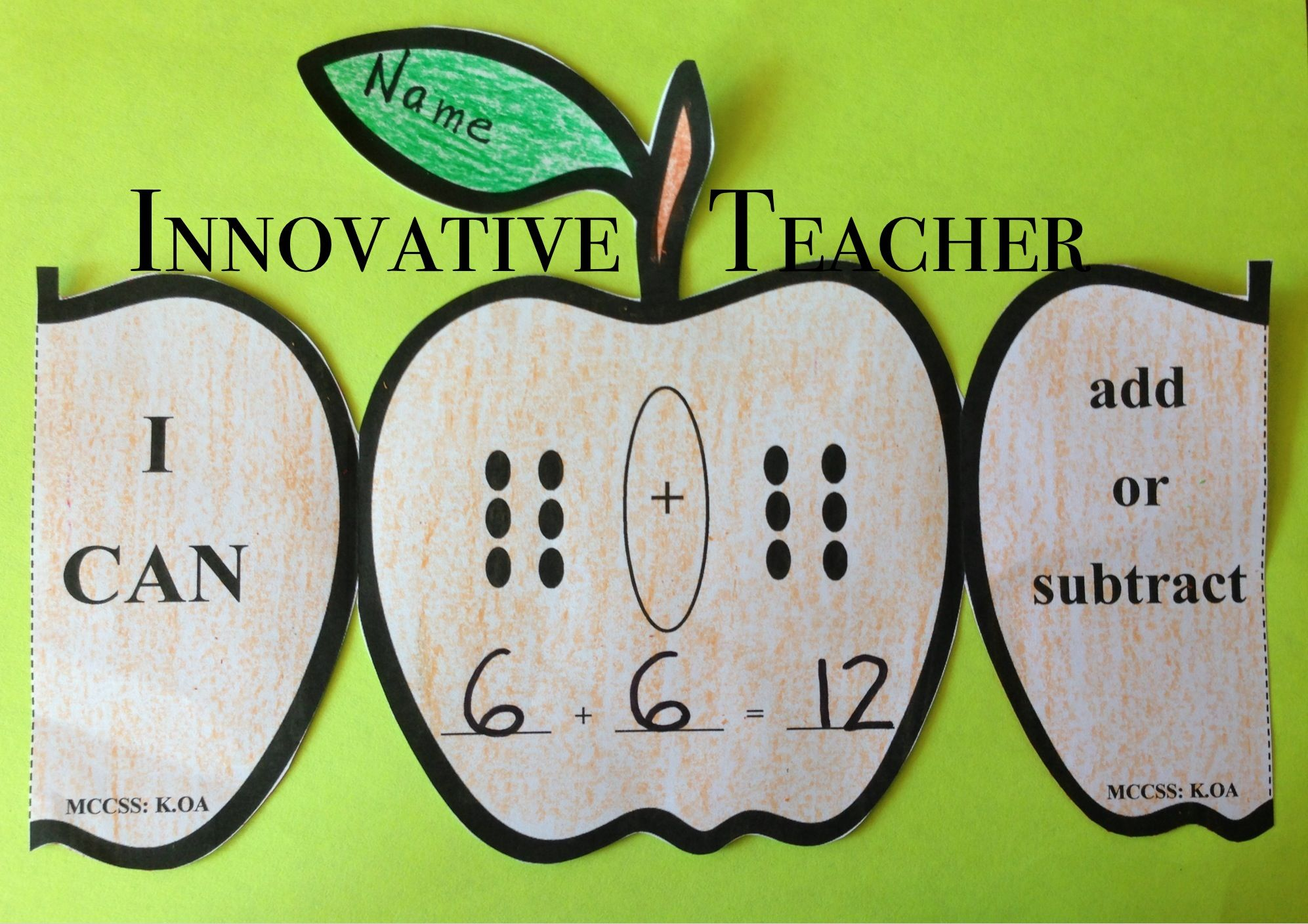 Apple Math Adding And Subtracting Activity