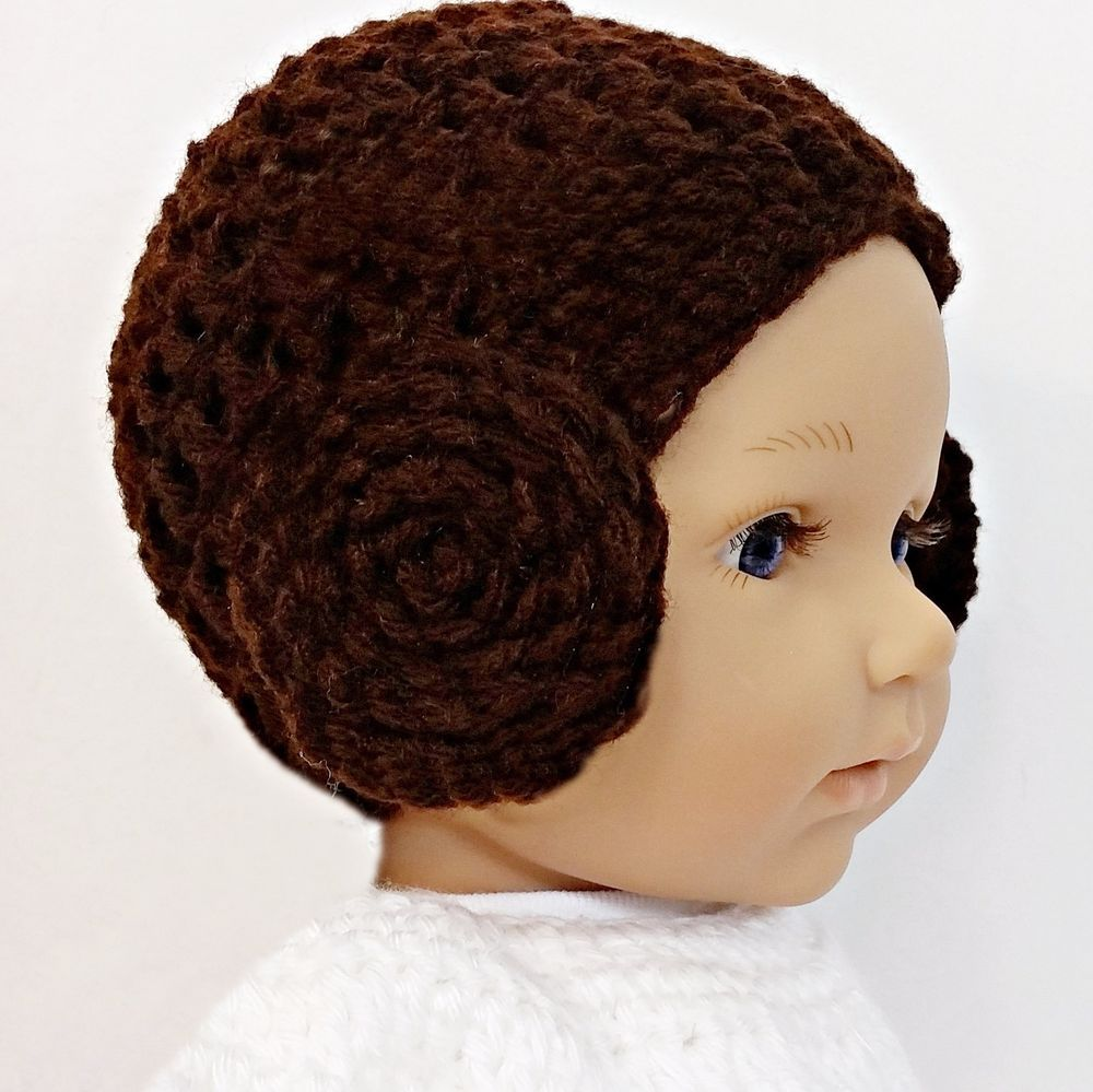 Princess Leia Bun Hat Star Wars Droid Crochet Beanie baby New Born - 3  months  Handmade 4597946dda5