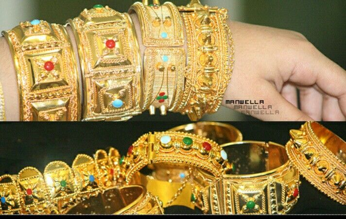 Gold Bangles معاضد ذهب Gold Pearl Jewelry Gold Bangles Design Arabic Jewelry