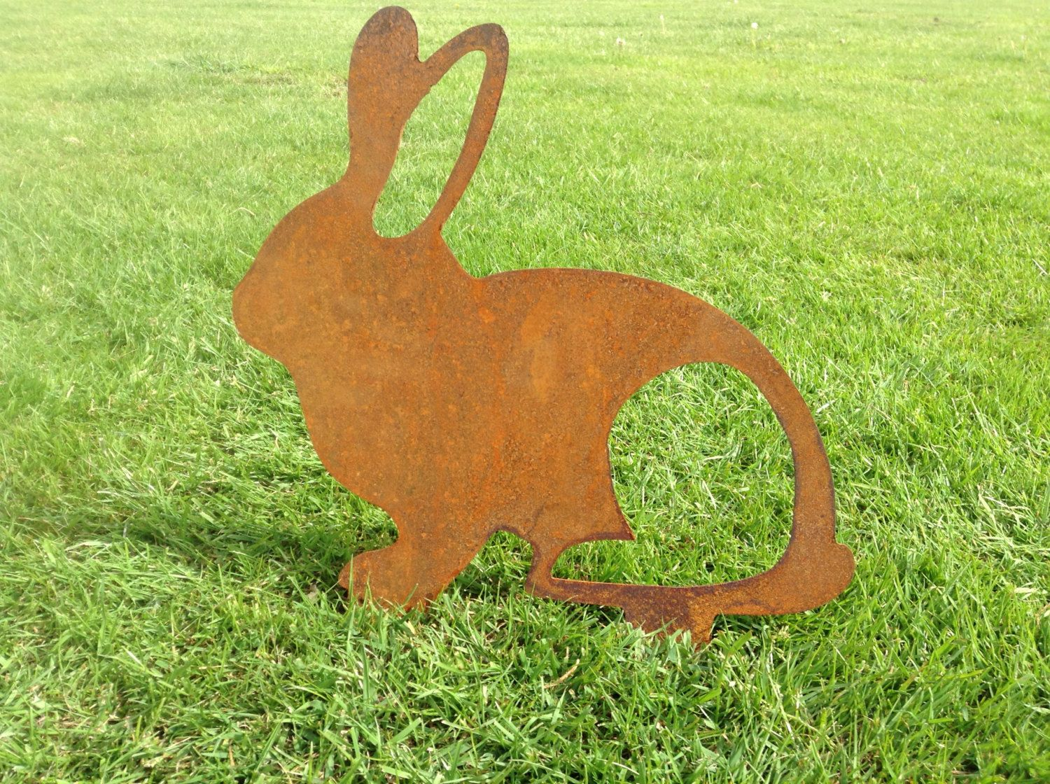 Rusty Rabbit Metal Garden Art / Easter Bunny / Metal Garden Rabbit ...