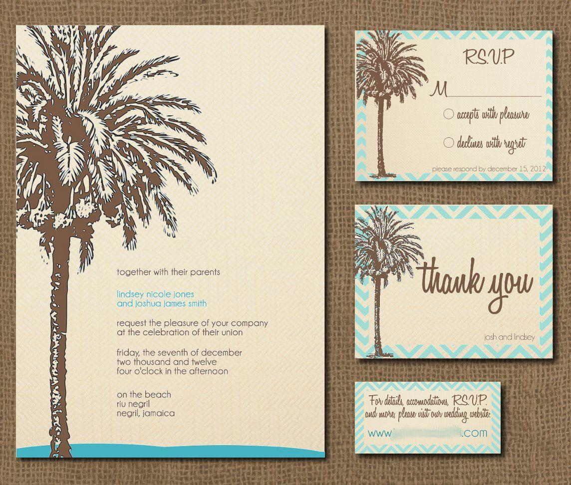 Printable Vintage Palm Destination Wedding Invitation Suite | Who ...