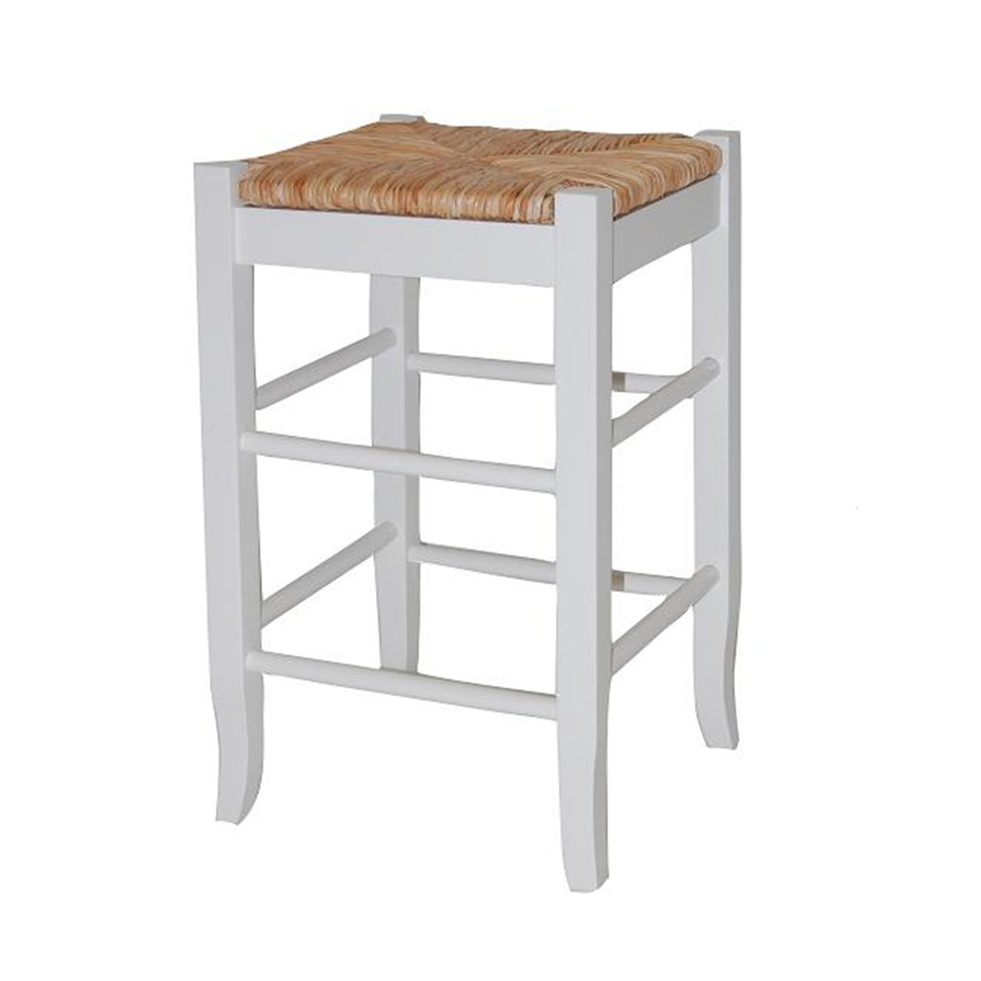 Square Wooden Frame Counter Stool With Hand Woven Rush White And Brown Bm61433 Counter Stools Furniture Bar Stools