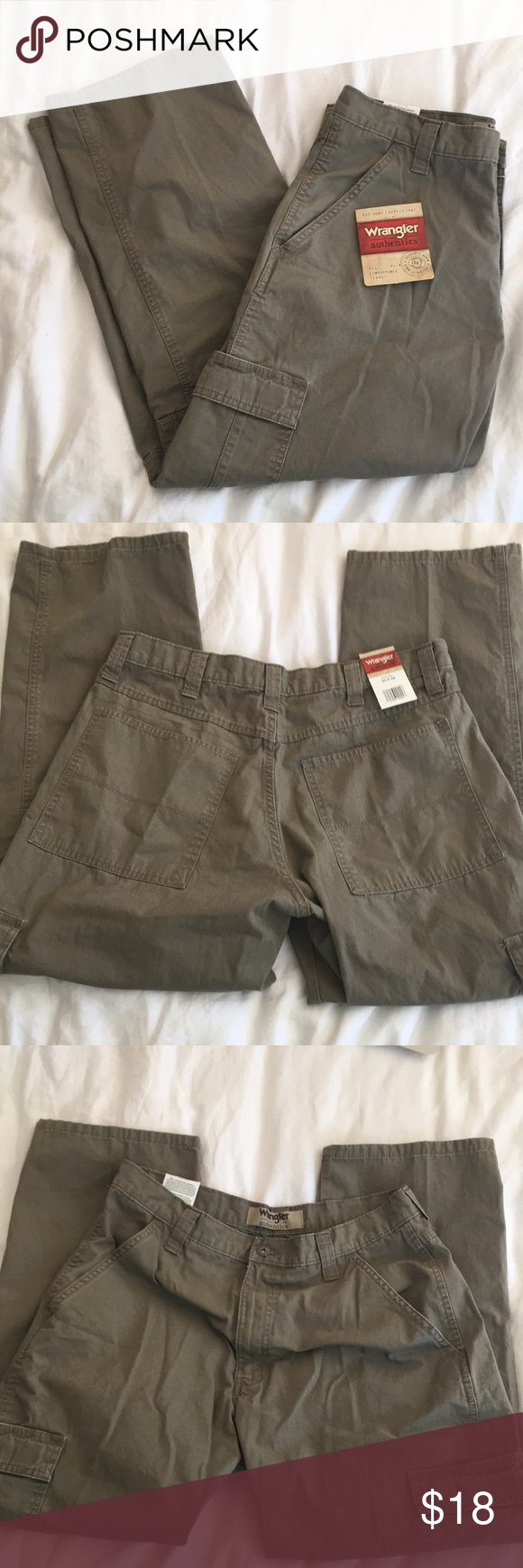 493dfbf76b19e8 NWT Wrangler Authentics class twill cargo pant Wrangler Authentics Men's  Classic twill Relaxed fit cargo pant Military Khaki Ripstop 34x29 Brand new  with ...