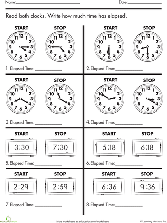worksheets calculate elapsed time - Elapsed Time Worksheet