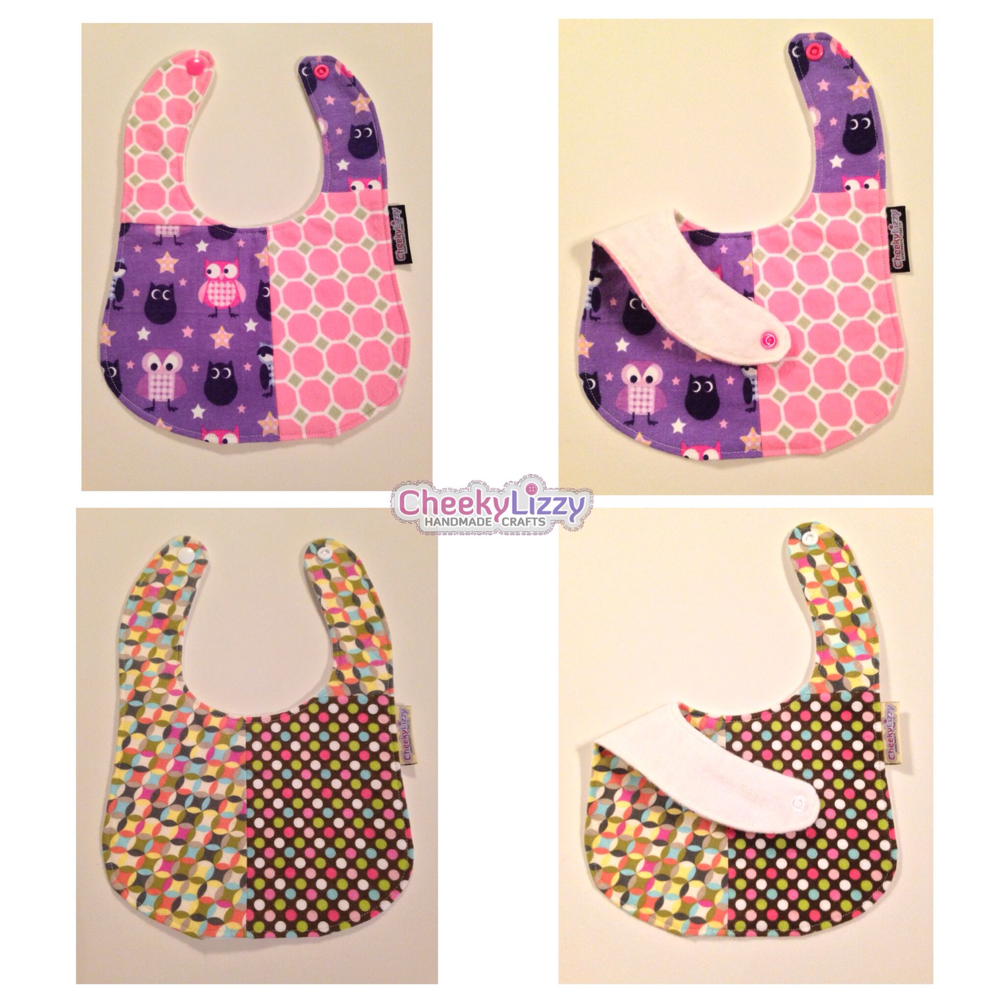 Patched baby bibs. Made from flannel fabrics both front and back for better absorbent.