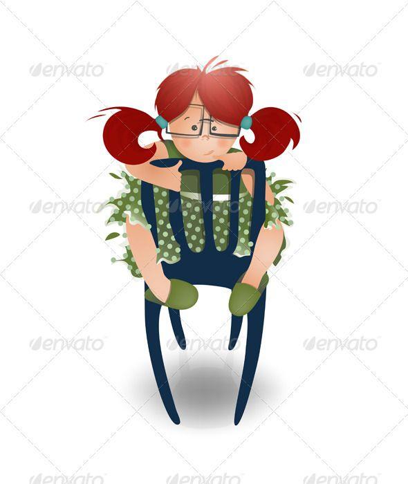 Little Girl Wearing Glasses Sitting On A Chair Cartoon Illustration Girl Humor Little Girls