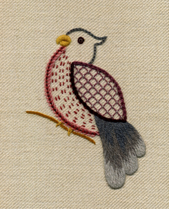 My Jacobean style little bird finally has his own product page...
