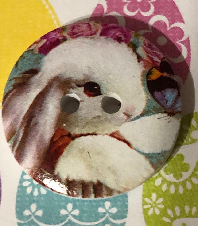 wooden Bunny Button   Buttons, Facebook button, Bunny