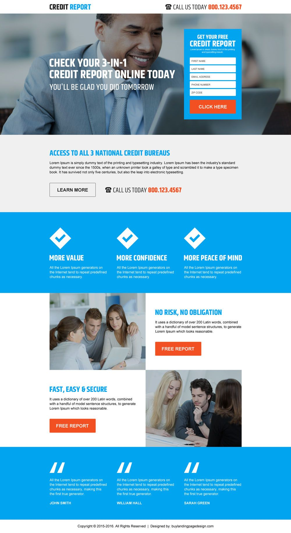 Free Credit Score Rating Lead Form Landing Page Design  Credit