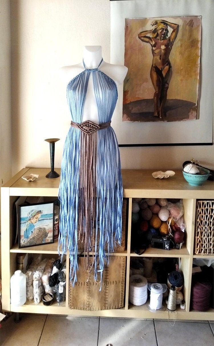 Mother of Dragons Festival clothing, Game of Thrones Party Cosplay Costume macrame dress, Daenerys Targaryen Costume, Blue Dress with Belt