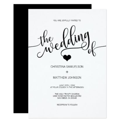 Modern trendy classic black white heart wedding invitation modern trendy black white black heart wedding card wedding invitations cards custom invitation card stopboris Gallery