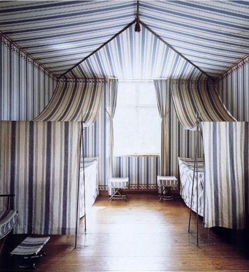 Schinle's tented stripes at Charlottenhof Palace, as seen in World of Interiors: