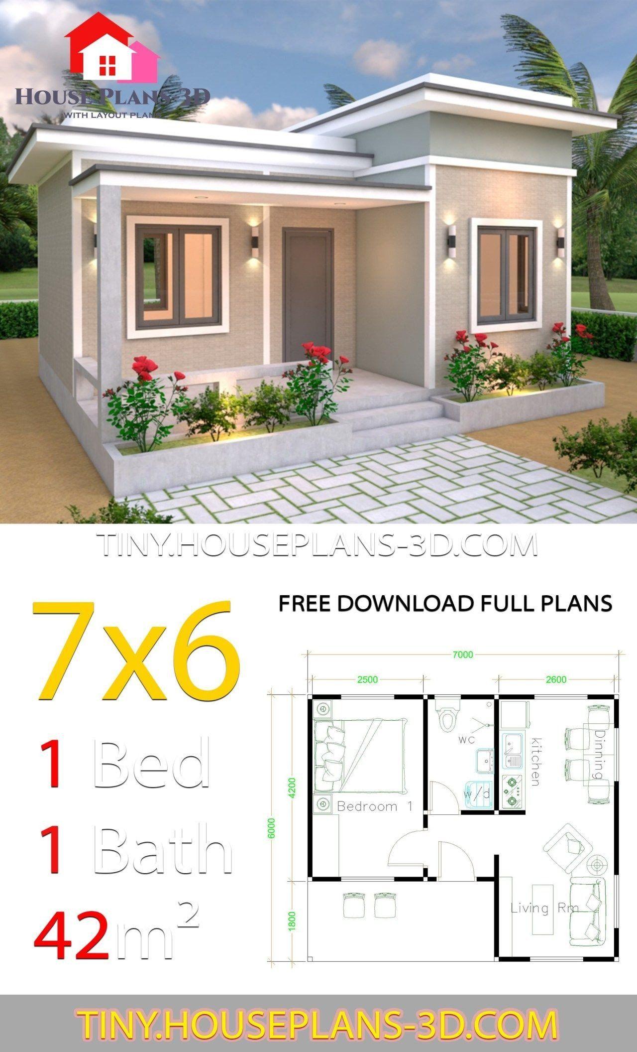 Flat Roof Modern House Floor Plans Tiny House Plans 7x6 With E Bedroom Flat Roof Tiny House Haus Design Winzige Hauser Kleines Hauschen