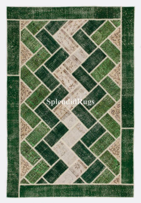 6'5 x 9'8  Green & Beige color Patchwork Rug by SplendidRugs