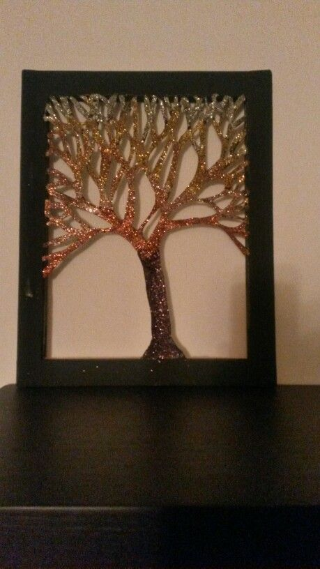 Cut out canvas tree with glitter <3