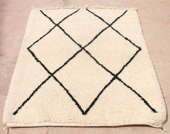 Small Rug Black And White Beni Ourain 3x5 Morrocan