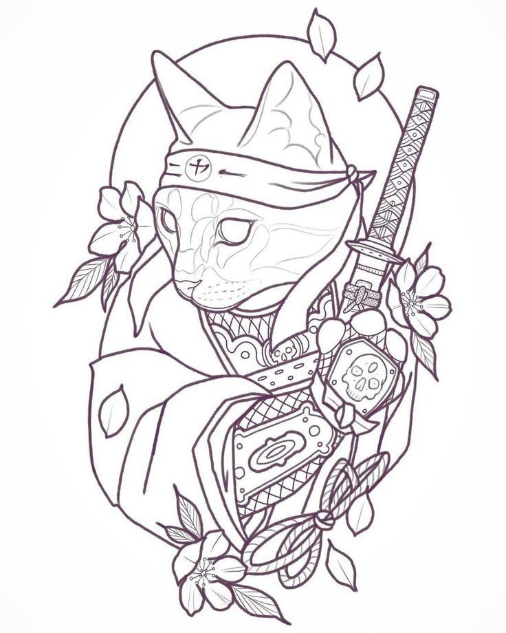 Cat Samurai Sketch Sketch Tattoo Design Japanese Tattoo Art Cat Tattoo