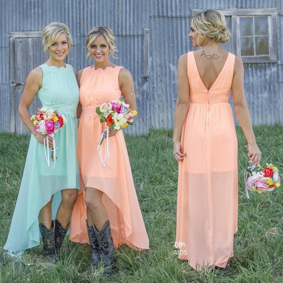 mint orange highlow cheap bridesmaid dresses under chiffon