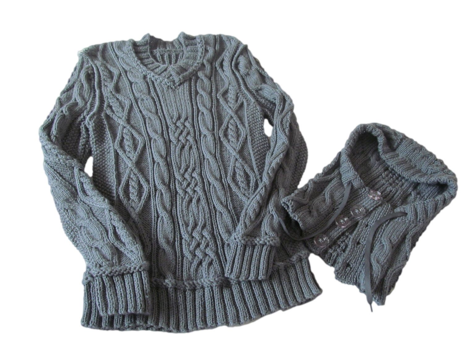 FASHION Pullover with Cable Knit Infinity Scarf.Knit pullover.Knit ...