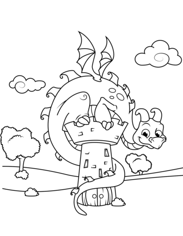 Cute Dragon Sitting On Tower Coloring Page Drachen Ausmalbilder Ausmalbilder Kostenlose Ausmalbilder