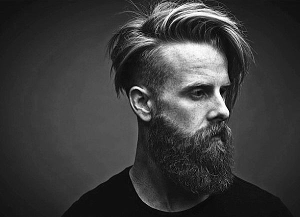 old school mens beard and undercut hair haircut