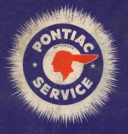 Old Pontiac Emblem logo design service auto cars purple orange - vehicle service contract