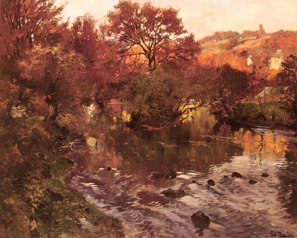 Fritz Thaulow (1847-1906) ~ Golden Autumn, Brittany  ~  Oil on canvas