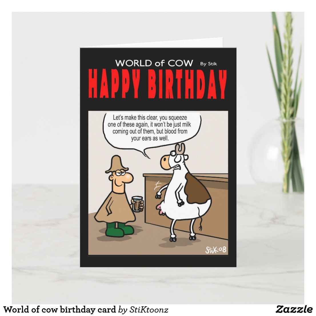 World Of Cow Birthday Card Zazzle Co Uk Cow Birthday Birthday Cards Birthday