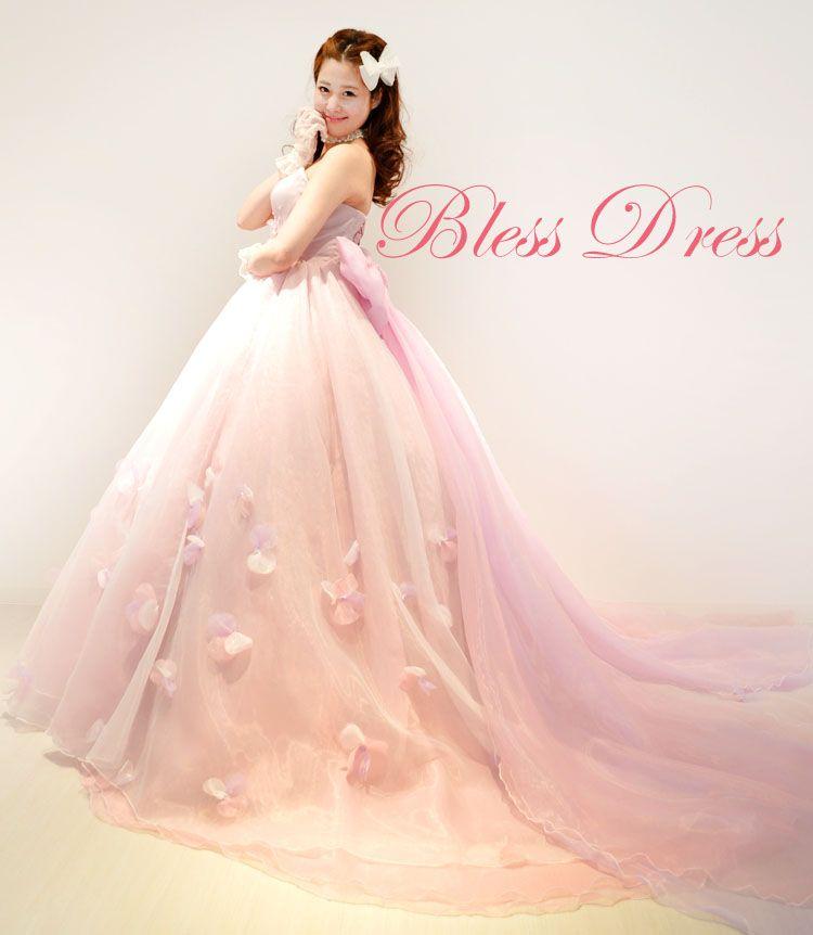 weddingdress オーダードレス ウェディングドレス  カラードレス プリンセスライン 花 pink nfl-order-a005
