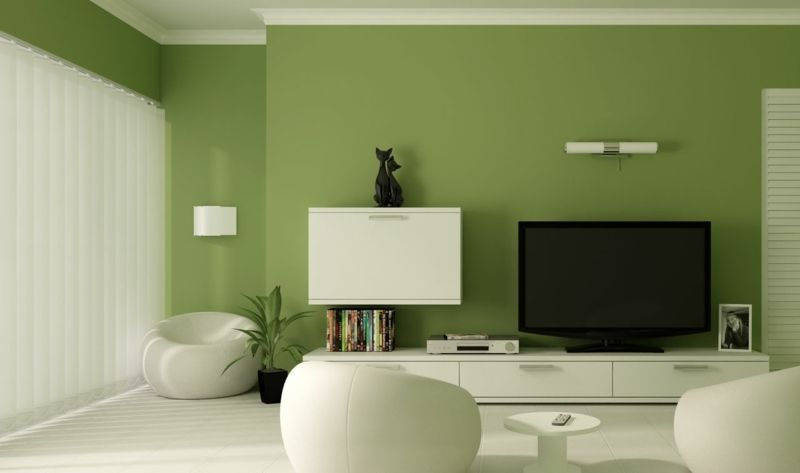 Wohnzimmer Wandfarben 2015   Olive Mit Weißer Einrichtung