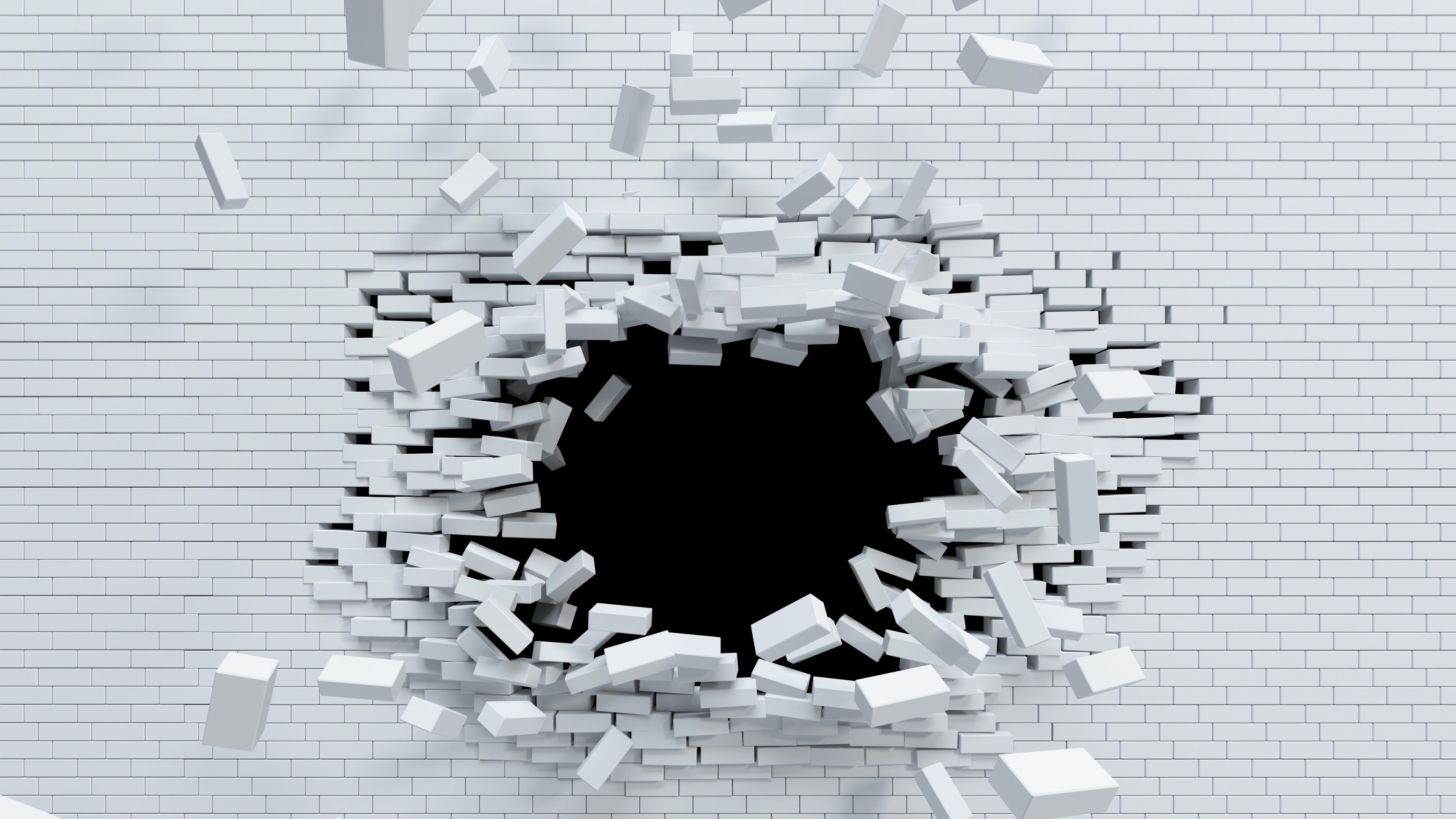 Black And White Font Monochrome Wall Brick 3d Digital Art Destroyed Destroy Brick Wall Hole 5k Wallpaper Hdwallpa Wallpaper Abstract Monochrome Wall