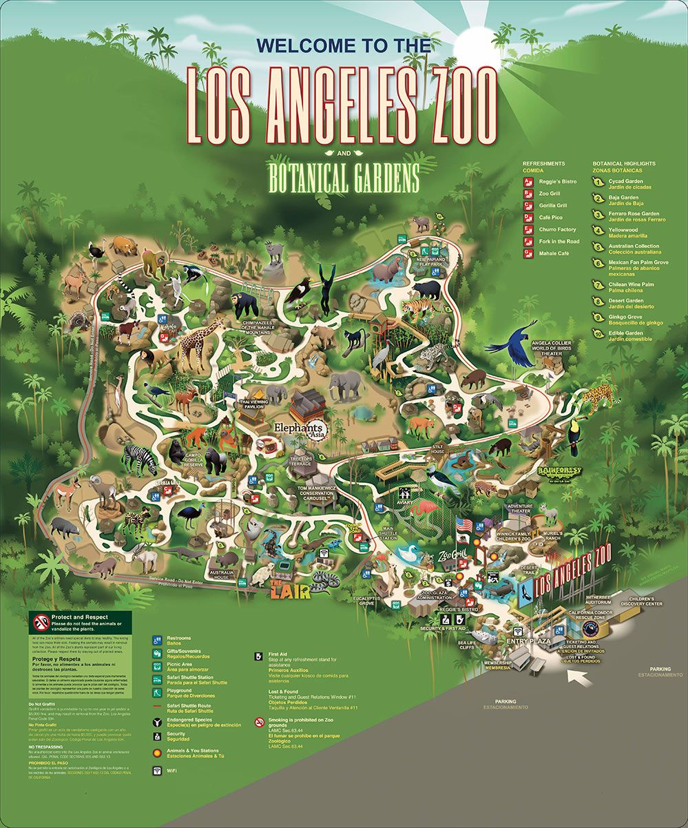 La Zoo And Botanical Garden In 2020 Los Angeles Zoo Zoo Map Zoo