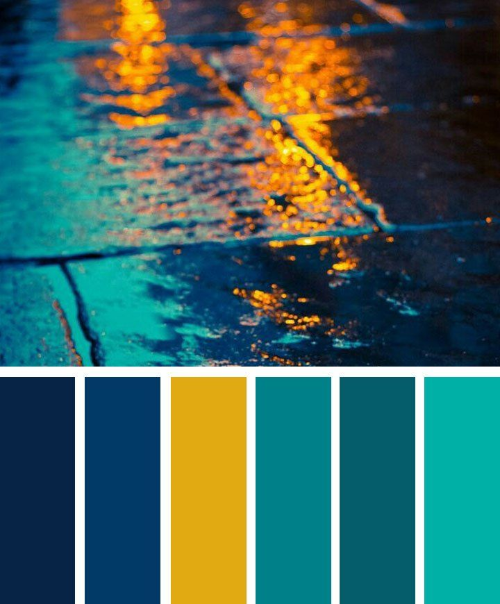 Dark Blue ,teal And Yellow Color Palette In 2019