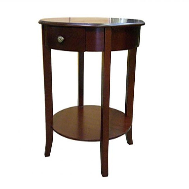 Off Cherry Round End Table By Ore International. Handsome Piece Has Classic  Good Looks Single Drawer Is Great For Playing Cards, A Cribbage Board, ...