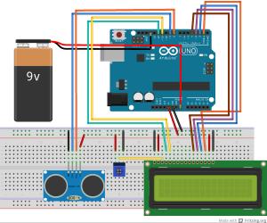 Distance Measurement Display On 16 2 Lcd Using Hc Sr04 Arduino Lcd Lipo Battery