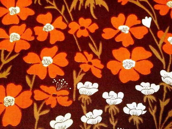 60s vintage swedish heavy cotton fabric. Unused, with lovely colors.