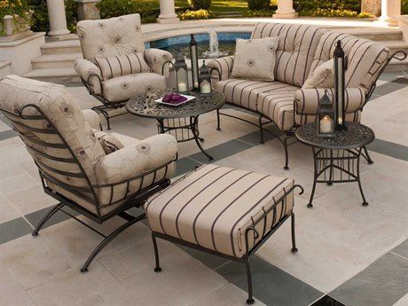 Woodard Terrace Cushion Wrought Iron Lounge Set