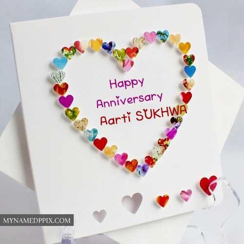 name write beautiful heart design anniversary card create