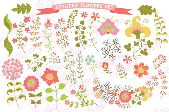 Stylized flowers,branches,berryes by Tatiana Kost design on Creative Market