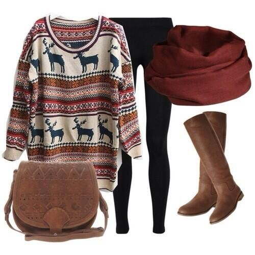 Winter fashion. Moose sweater with leggings
