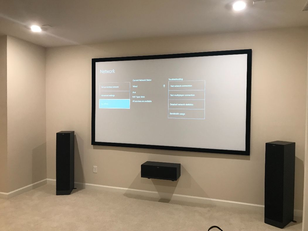 home audio movie projector screen setup need your dream home cinema setup stop by the find tv installer website and hire a home av company  [ 1051 x 788 Pixel ]