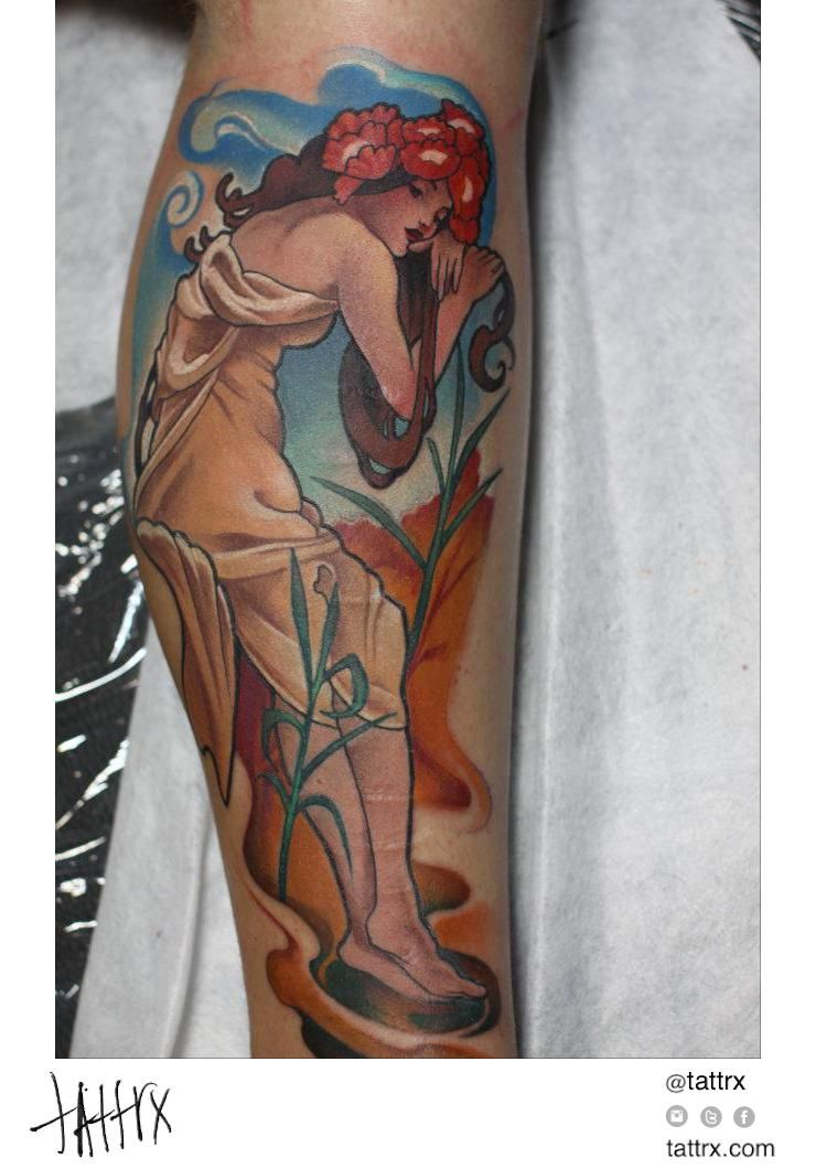Kuba Kujawa Art By Alphonse Mucha Nouveau Tattoo Tattoos For Women Flowers Tattoos For Women