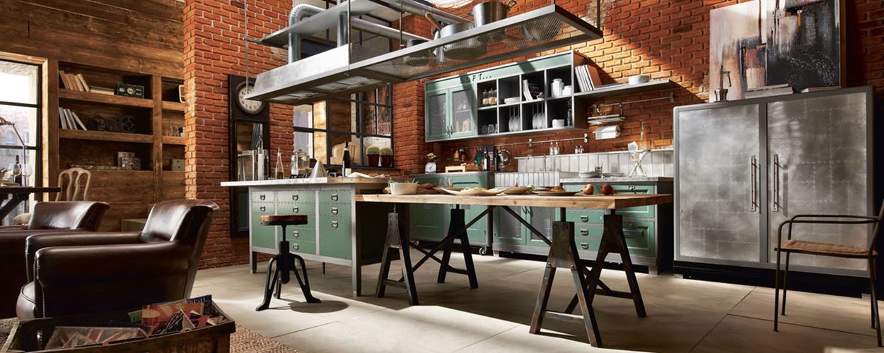 vintage style landhausk che loft k che kitchen styling industrial style kitchen und. Black Bedroom Furniture Sets. Home Design Ideas