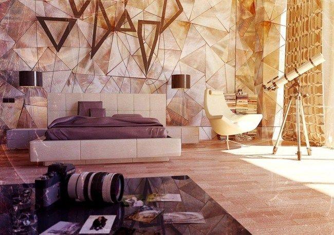 Wohnideen Schlafzimmer Modern Neutralle Farben Geometrische Figuren