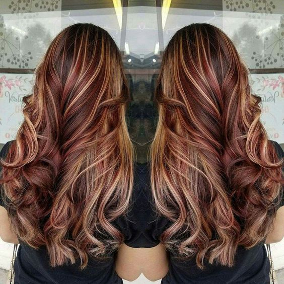 Red Highlights On Black Brown Blonde Hair Pinterest Red