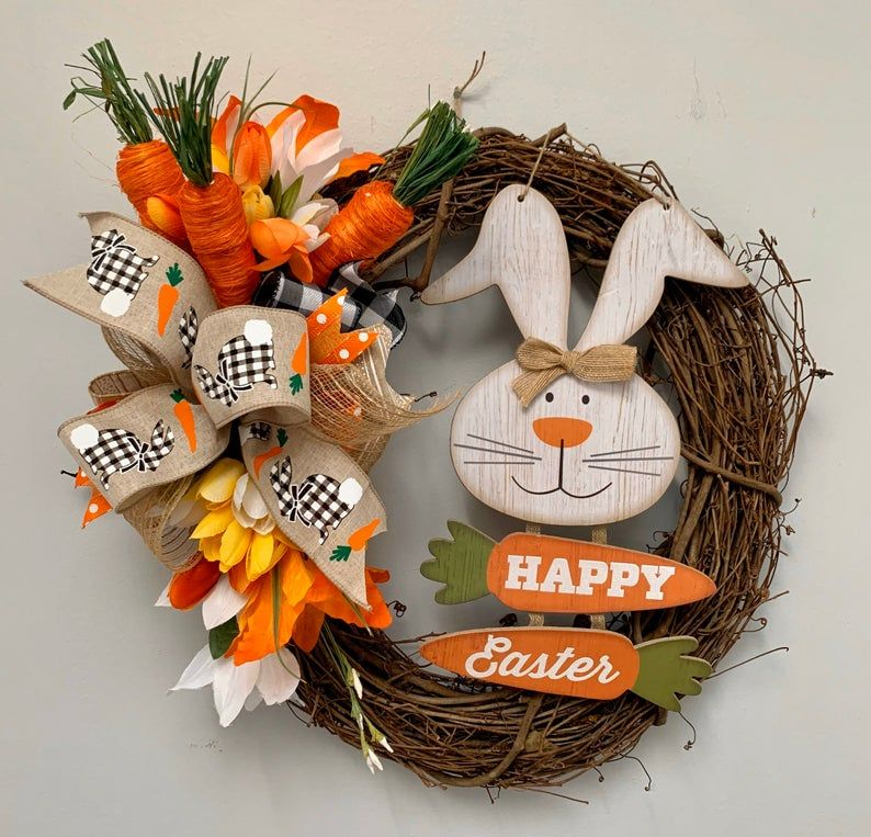 Photo of Carrot Wreath, Easter Wreath, Bunny Wreath, Removable sign, Easter Decor, Bunny and Carrot, Buffalo Plaid Easter Wreath